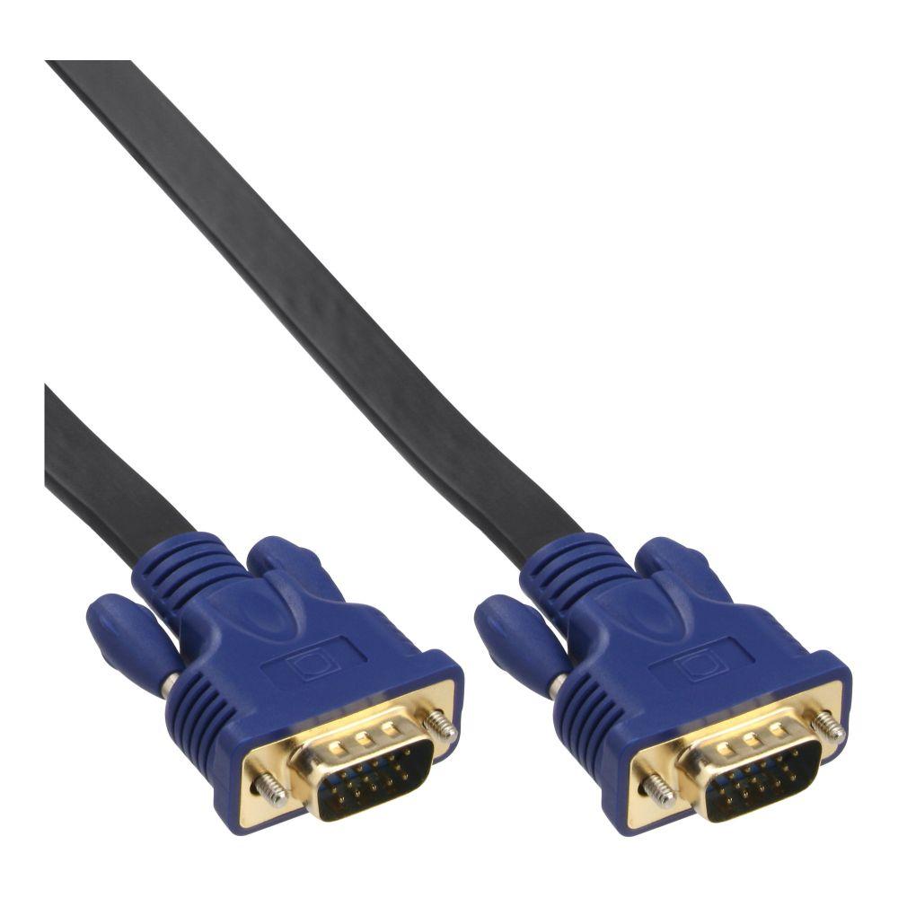 InLine® S-VGA Flachkabel, 15pol HD Stecker / Stecker, schwarz, 7,5m