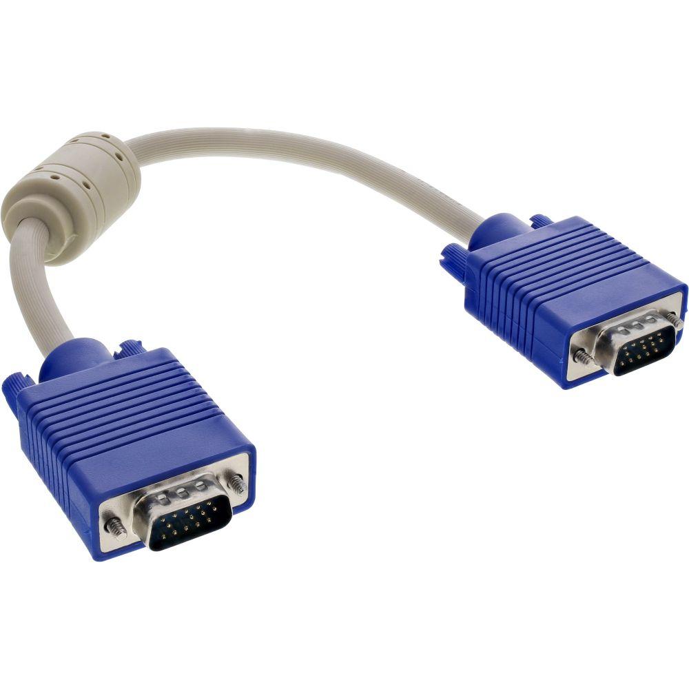 InLine® S-VGA Kabel, 15pol HD Stecker / Stecker, beige, 0,3m