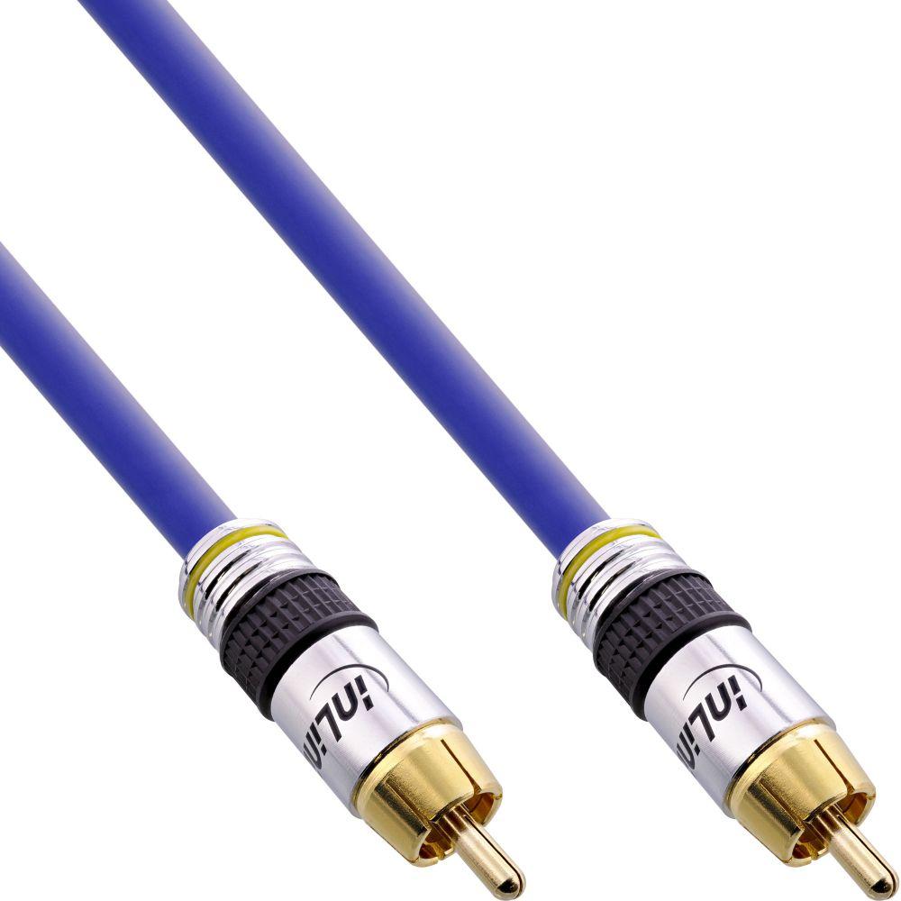 InLine® Cinch Kabel VIDEO & digital AUDIO, PREMIUM, vergoldete Stecker, 1x Cinch Stecker / Stecker, 5m