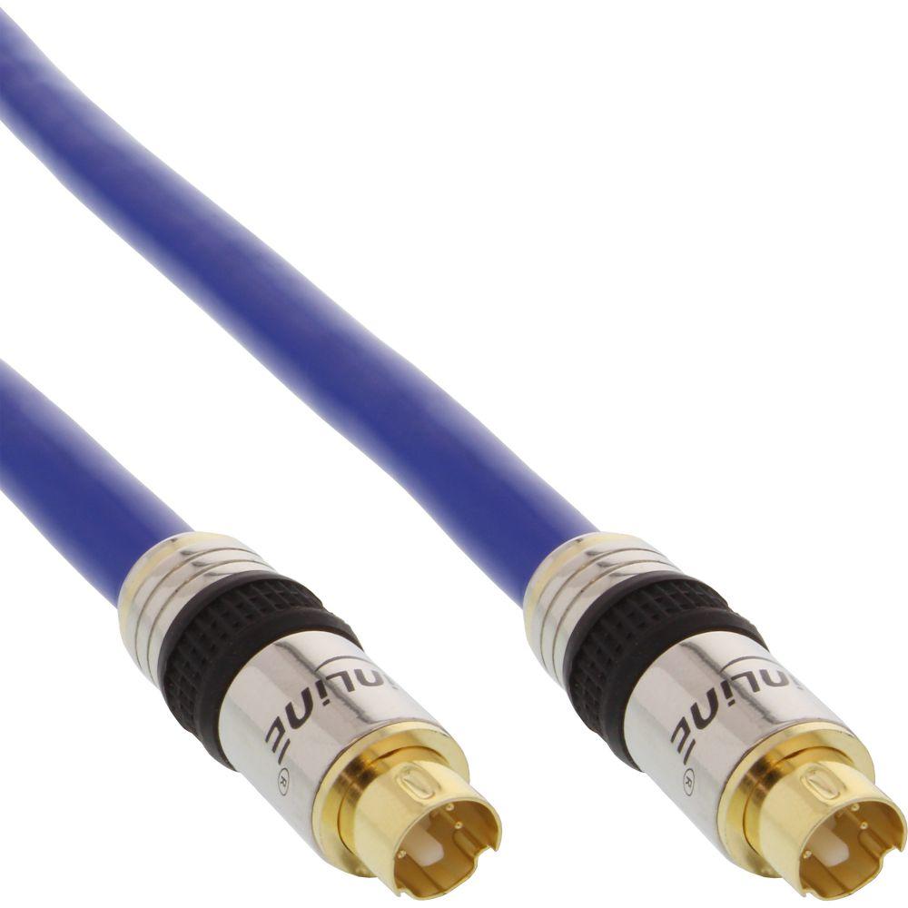 InLine® S-VHS Kabel, PREMIUM, vergoldete Stecker, 4pol mini DIN Stecker / Stecker, 15m