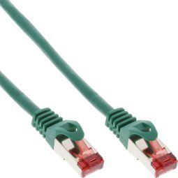 InLine® Patchkabel, S/FTP (PiMf), Cat.6, 250MHz, halogenfrei, Kupfer, grün, 1m