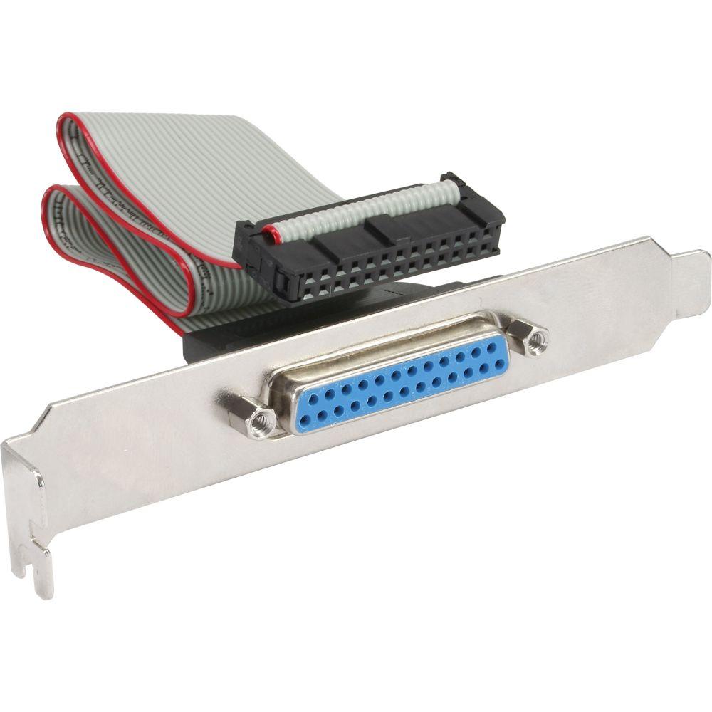 InLine® Slotblech Parallel, mit 25pol Sub D Buchse an 26-pol Buchsenleiste, 0,25m