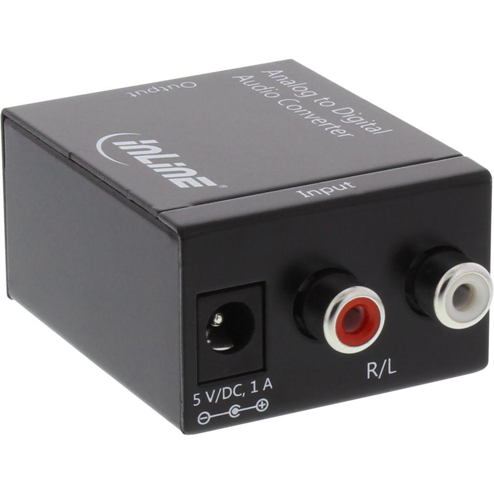 InLine® Audio-Konverter Analog zu Digital, AD-Wandler, Eingang 2x Cinch Stereo, Ausgang Toslink oder Cinch