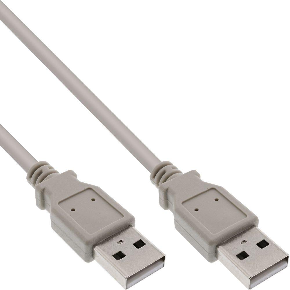 InLine® USB 2.0 Kabel, A an A, beige, 5m