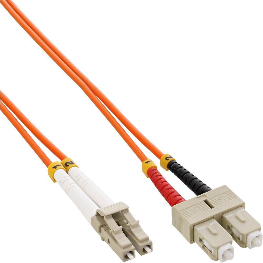InLine® LWL Duplex Kabel, LC/SC, 50/125µm, OM2, 1m