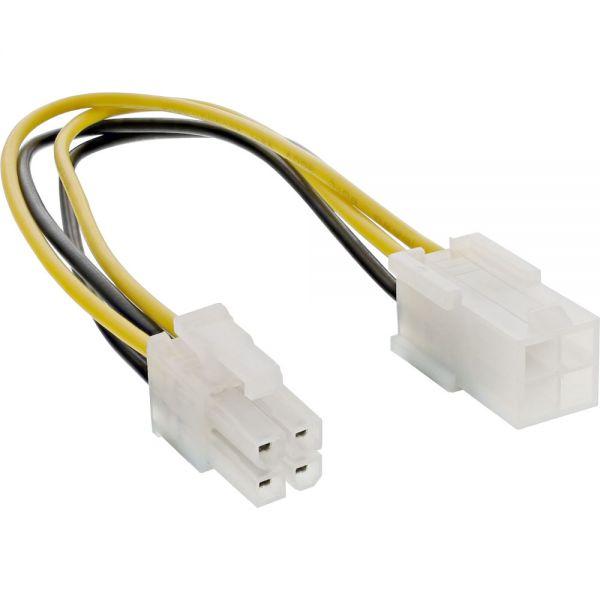Ordentlich InLine® Strom Verlängerung intern, P4 4pol Stecker / Buchse  EN41