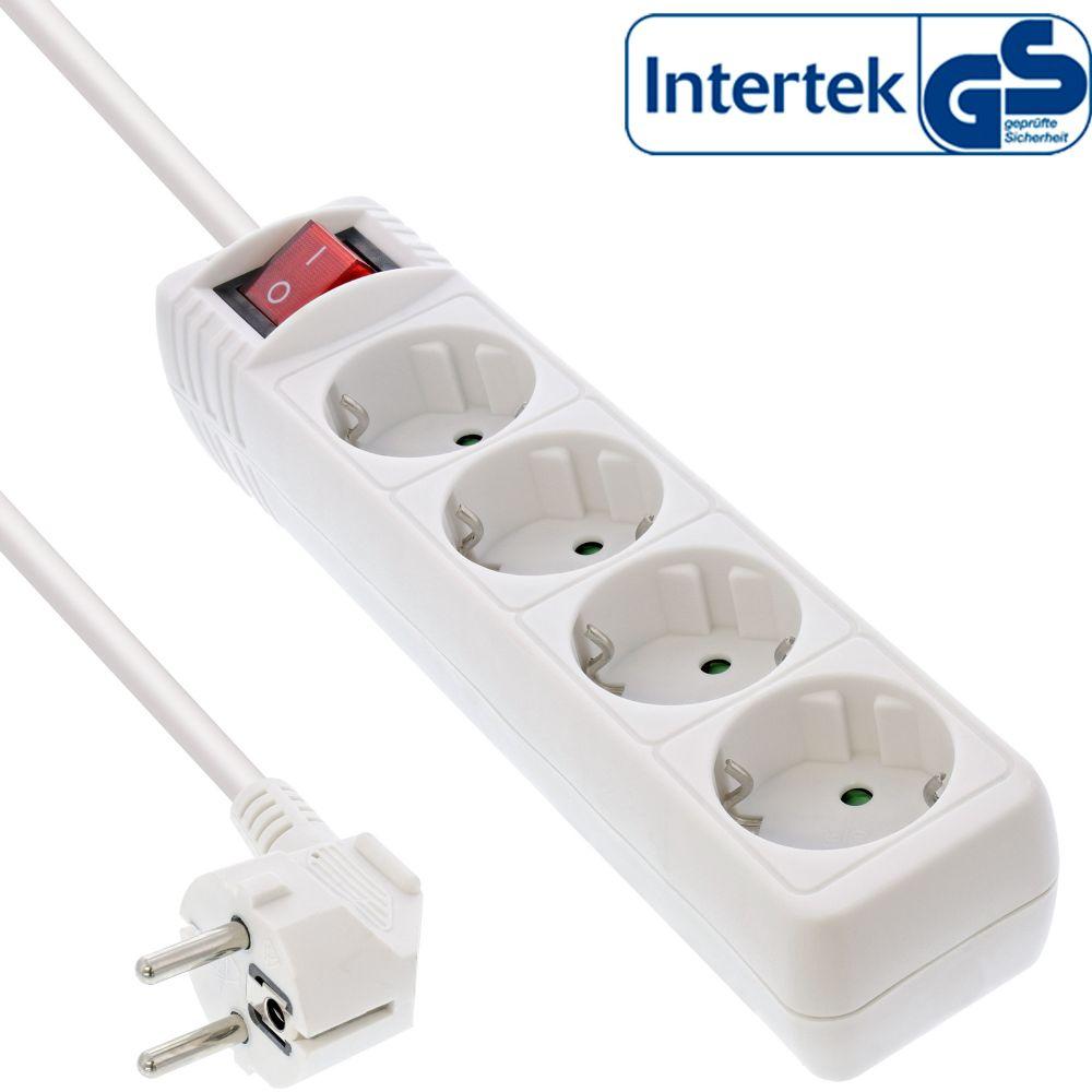 4-fach InLine® Steckdosenleiste 1,5m 2x Schutzkontakt 2x Euro mit Schalter