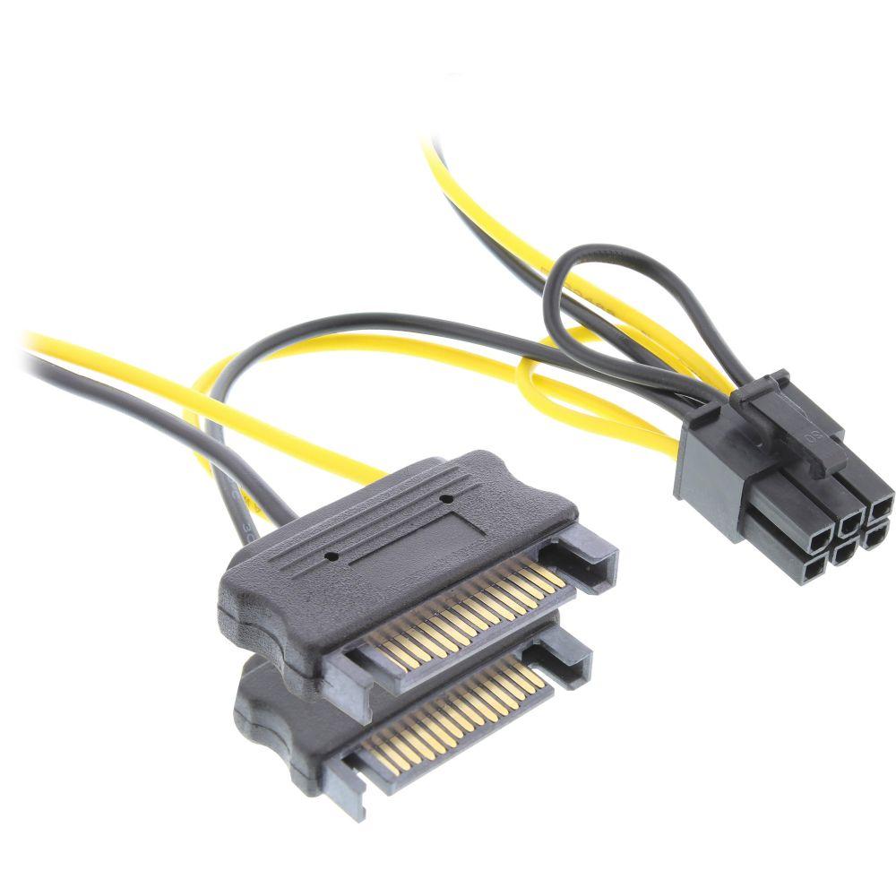 InLine® Stromadapter intern, 2x SATA zu 6pol. für PCIe (PCI-Express) Grafikkarten, 0,15m