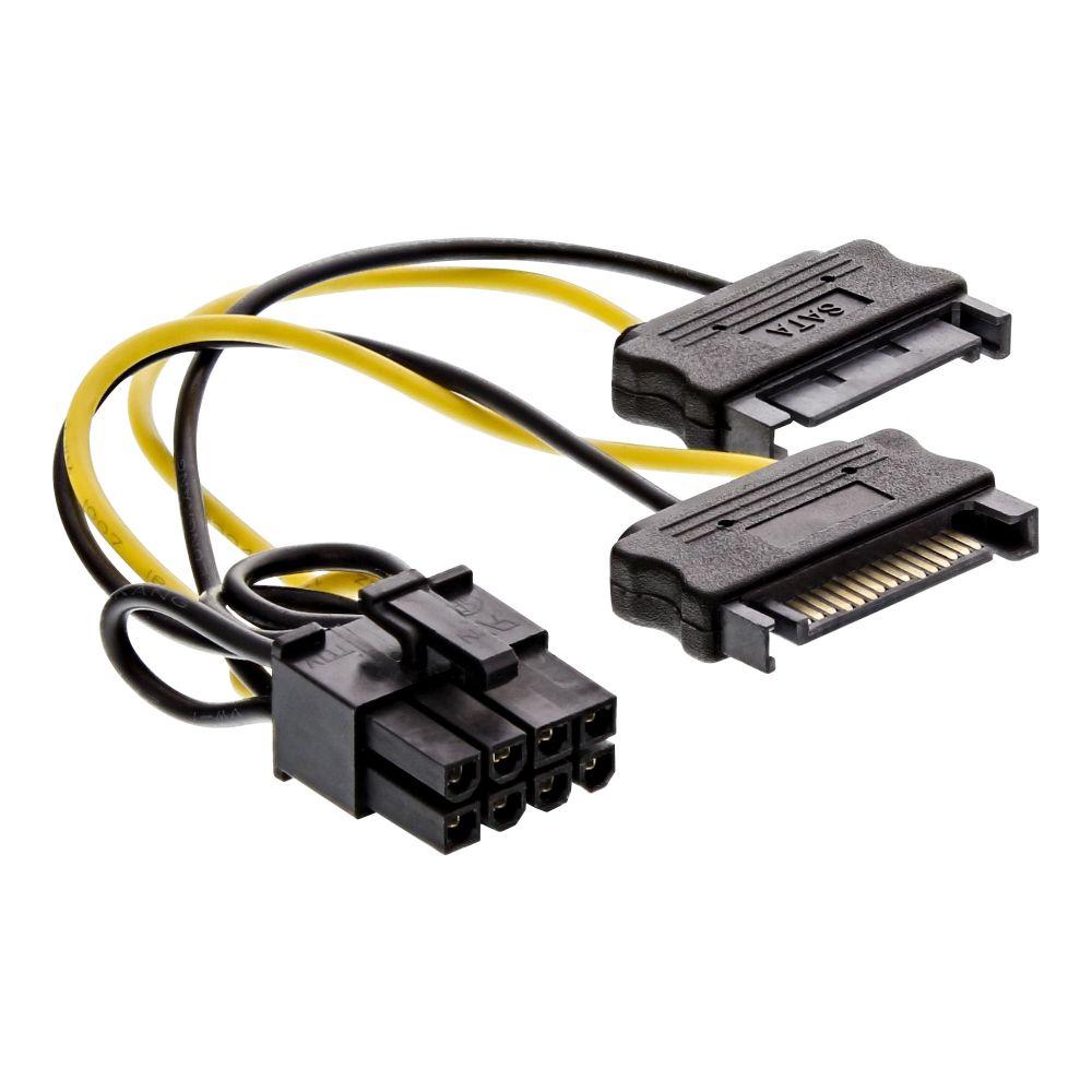 InLine® Stromadapter intern, 2x SATA zu 8pol für PCIe (PCI-Express) Grafikkarten, 0,15m