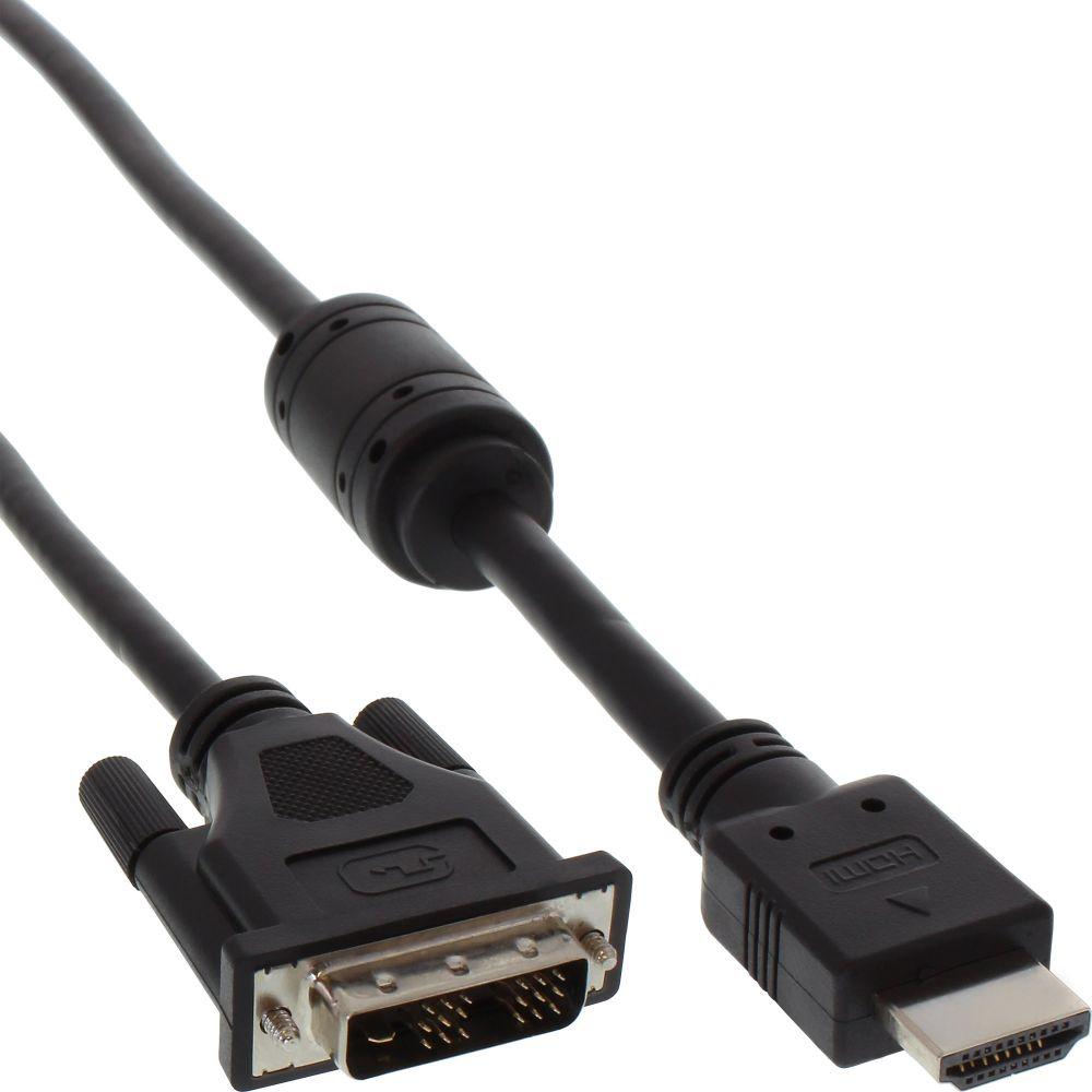 InLine® HDMI-DVI Adapterkabel, 19pol Stecker auf 18+1 Stecker, mit Ferrit, 5m