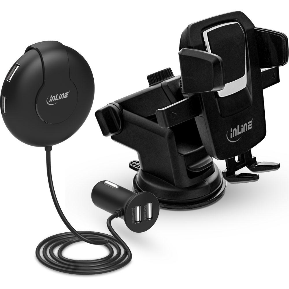 inline kfz set usb ladeger t mit smartphone halterung. Black Bedroom Furniture Sets. Home Design Ideas