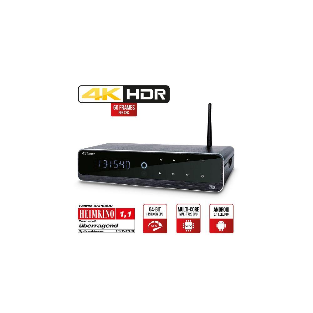 FANTEC 4KP6800, 4K HDR & 3D Android Smart TV Media Player, HDMI & USB 3.0, Aluminiumgehäuse mit LCD-Anzeige