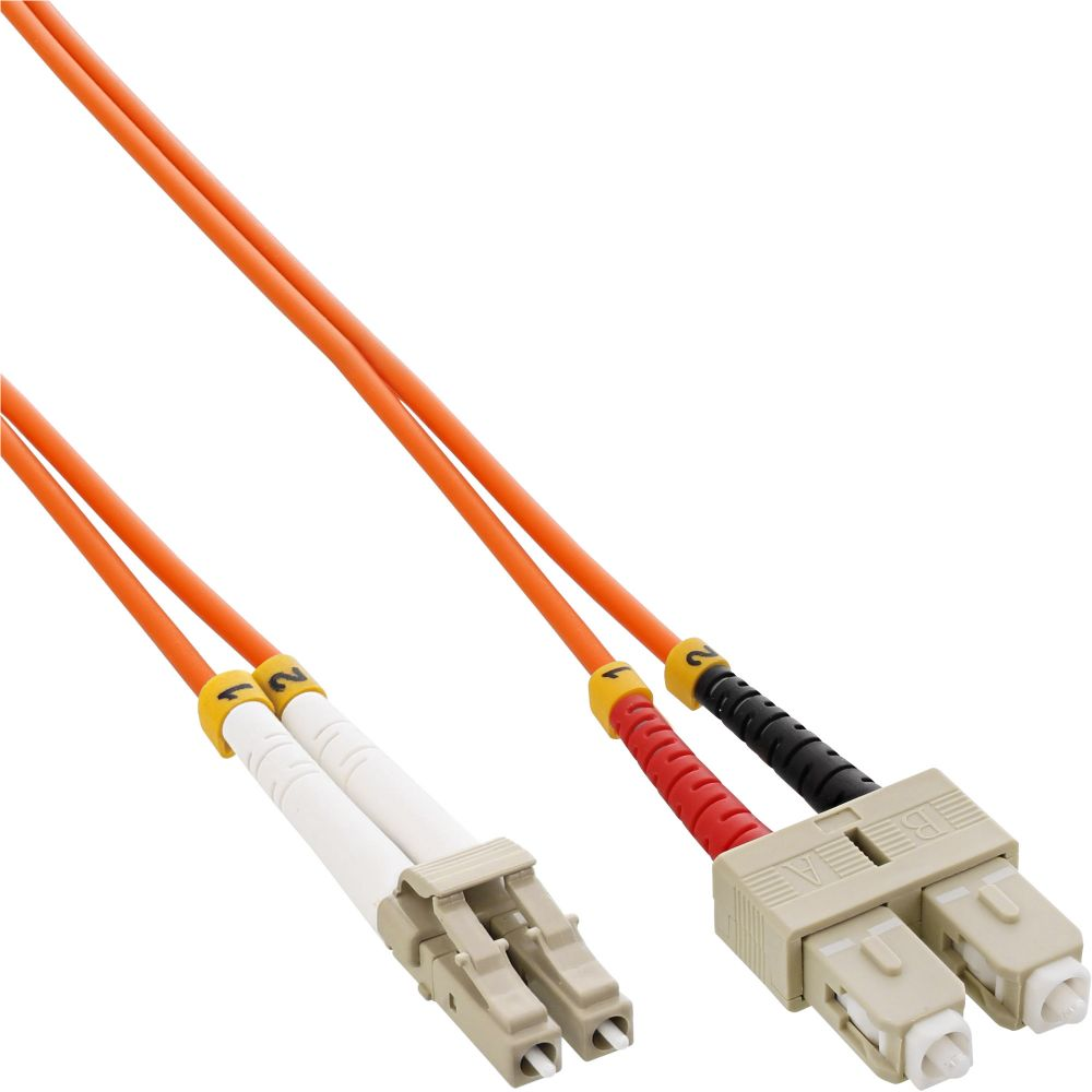 InLine® LWL Duplex Kabel, LC/SC, 50/125µm, OM2, 10m