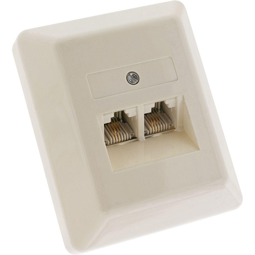 InLine® ISDN Anschlussdose, 2x RJ45 Buchse, Aufputz, 4pol. parallel, ohne Widerstand