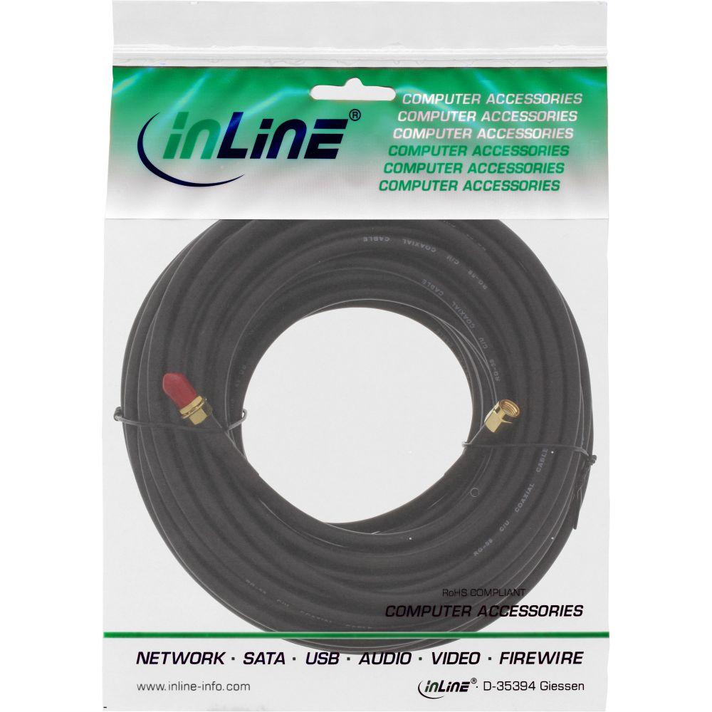 inline® wlan kabel, r-sma-stecker auf r-sma-kupplung, 20m | wlan